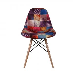 صندلی مدرن پایه چوبی داووس مدل DATW-تشک طرح چهل تکه